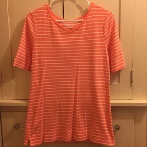 Westbound Peach & White Striped T-Shirt Size S